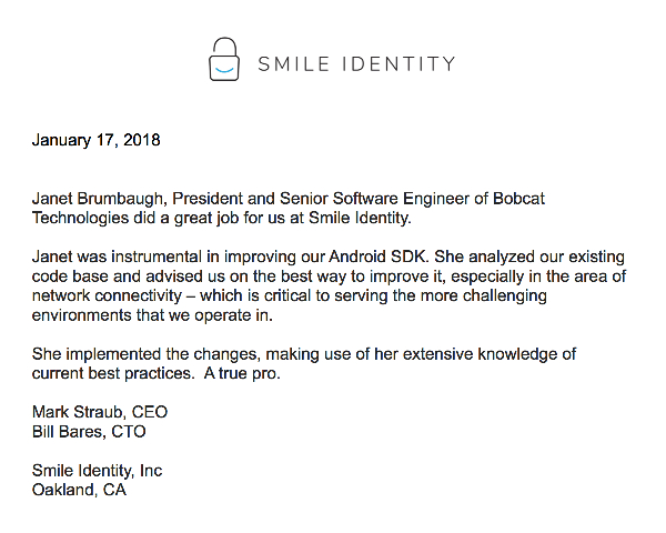 Reference Letter from Smile Identity